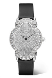 Heures Créatives 26.5mm 18-karat white gold, satin, alligator and diamond watch