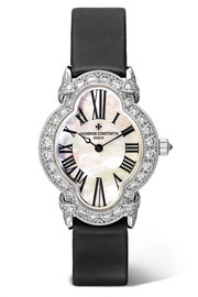 Heures Créatives Heure Romantique 26.5mm 18-karat white gold, satin, diamond and mother-of-pearl watch
