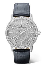 Traditionelle 33mm small 18-karat white gold, alligator and diamond watch