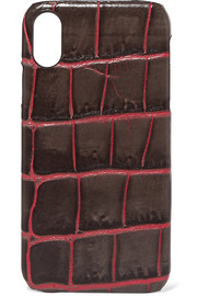 Croc-effect leather iPhone XR case
