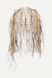 Rosantica Feather-trimmed gold-tone headpiece