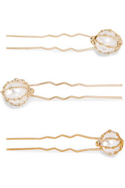 Set of three gold-tone faux pearl hair pins