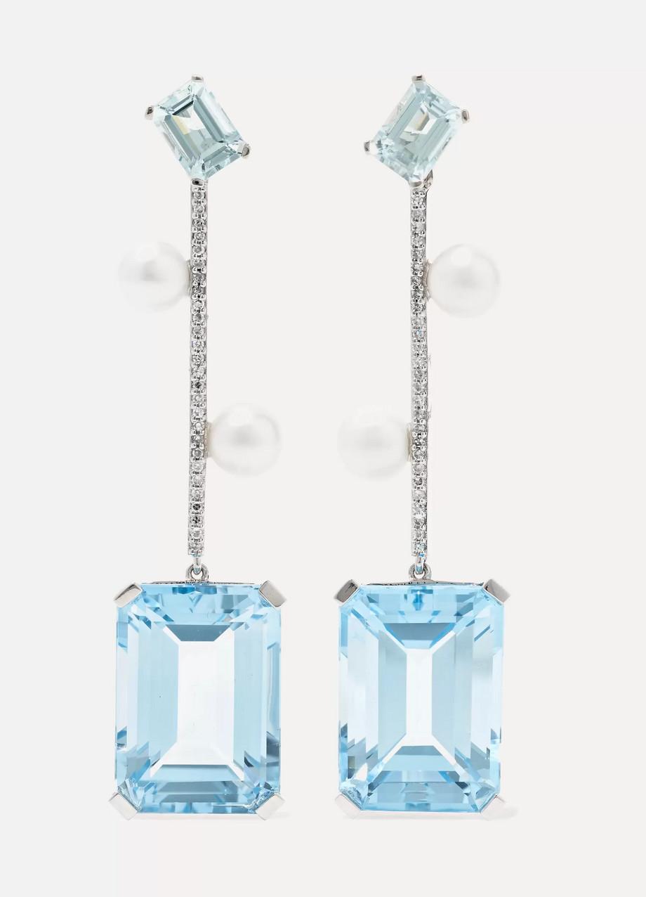 Mateo 14-karat white gold multi-stone earrings