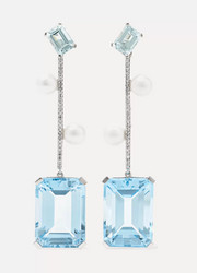 14-karat white gold multi-stone earrings