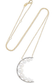 Large Crescent Moon 14-karat gold, pearl and diamond necklace