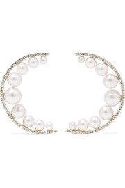Mateo Large Crescent Moon 14-karat gold, pearl and diamond earrings