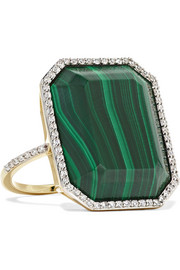 14-karat gold, malachite and diamond ring