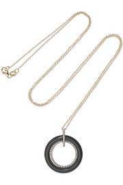 Connecting Circle 14-karat gold, onyx and diamond necklace