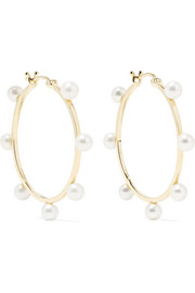 Mateo Large Dot 14-karat gold pearl hoop earrings