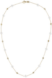 Mateo 14-karat gold, diamond and pearl necklace