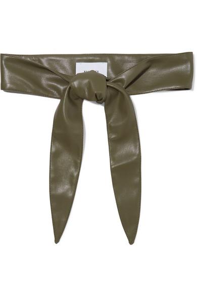 Vegan Leather Waist Belt in Dark Green
