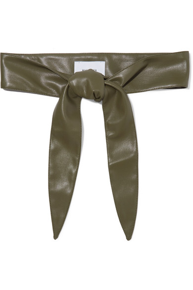 NANUSHKA | Nanushka - Vegan Leather Waist Belt - Dark green | Goxip