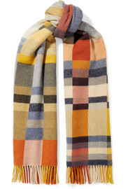 Tableau fringed checked wool and cashmere-blend scarf