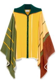 Striped wool and cashmere-blend poncho