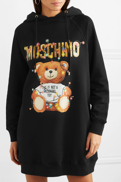 Moschino Dress Teddy hooded printed cotton-jersey dress