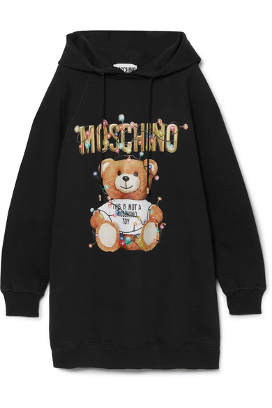 Moschino Dresses Teddy hooded printed cotton-jersey dress