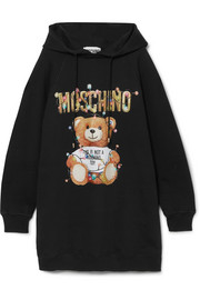 Moschino Teddy hooded printed cotton-jersey dress