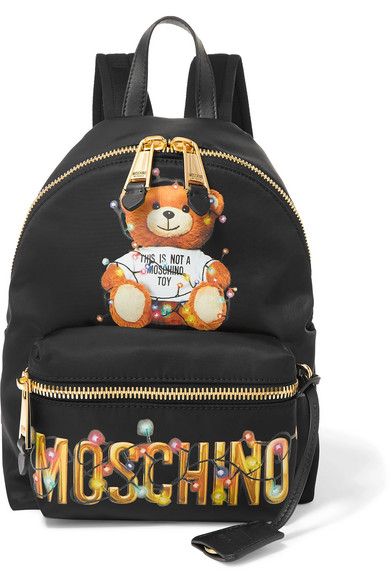 MOSCHINO | Moschino - Printed Shell Backpack - Black | Goxip