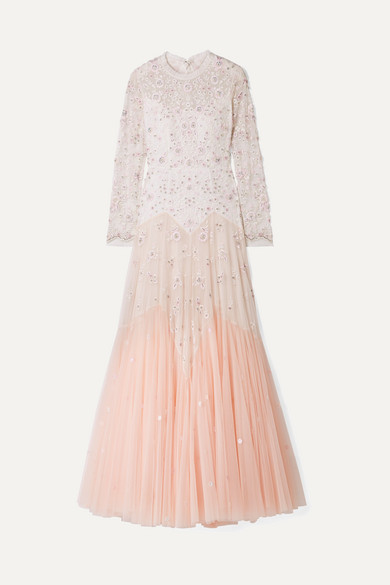 NEEDLE & THREAD Pearl Rose Cutout Embellished Embroidered Tulle Gown in Pastel Pink