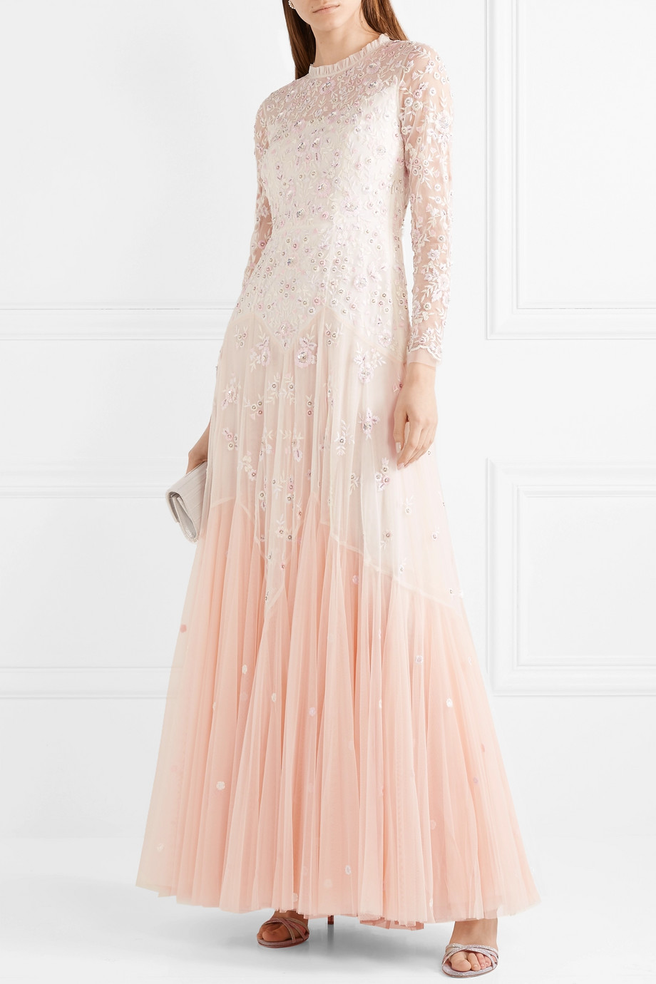 Needle & Thread Pearl Rose cutout embellished embroidered tulle gown