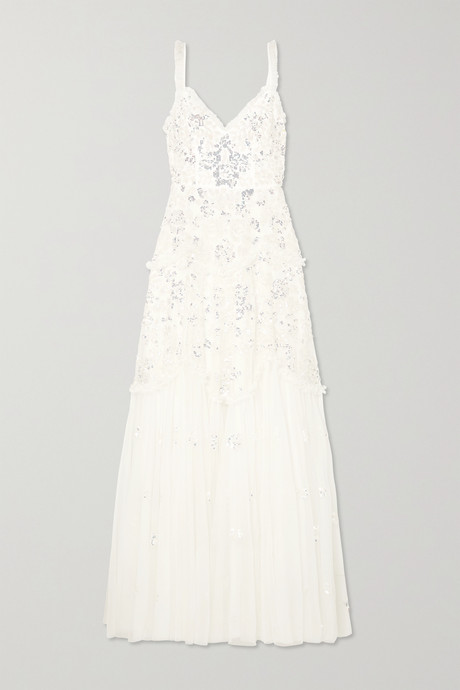 Ivory Ruffled sequin-embellished tulle gown | Needle & Thread BxXEGr