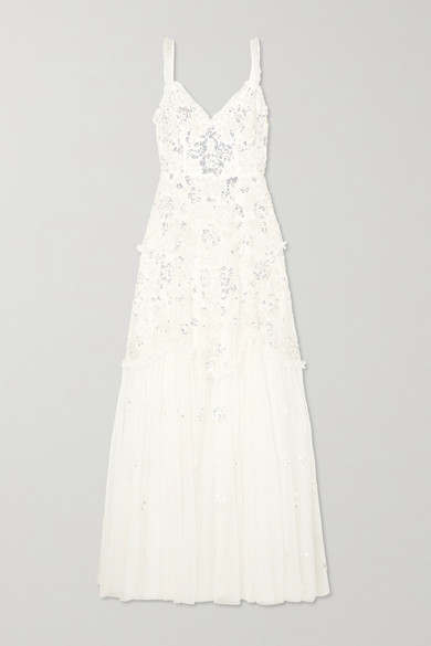 NEEDLE & THREAD Ruffled Sequin-Embellished Tulle Gown in Ivory