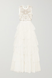 Tiered embellished tulle and point d'esprit gown