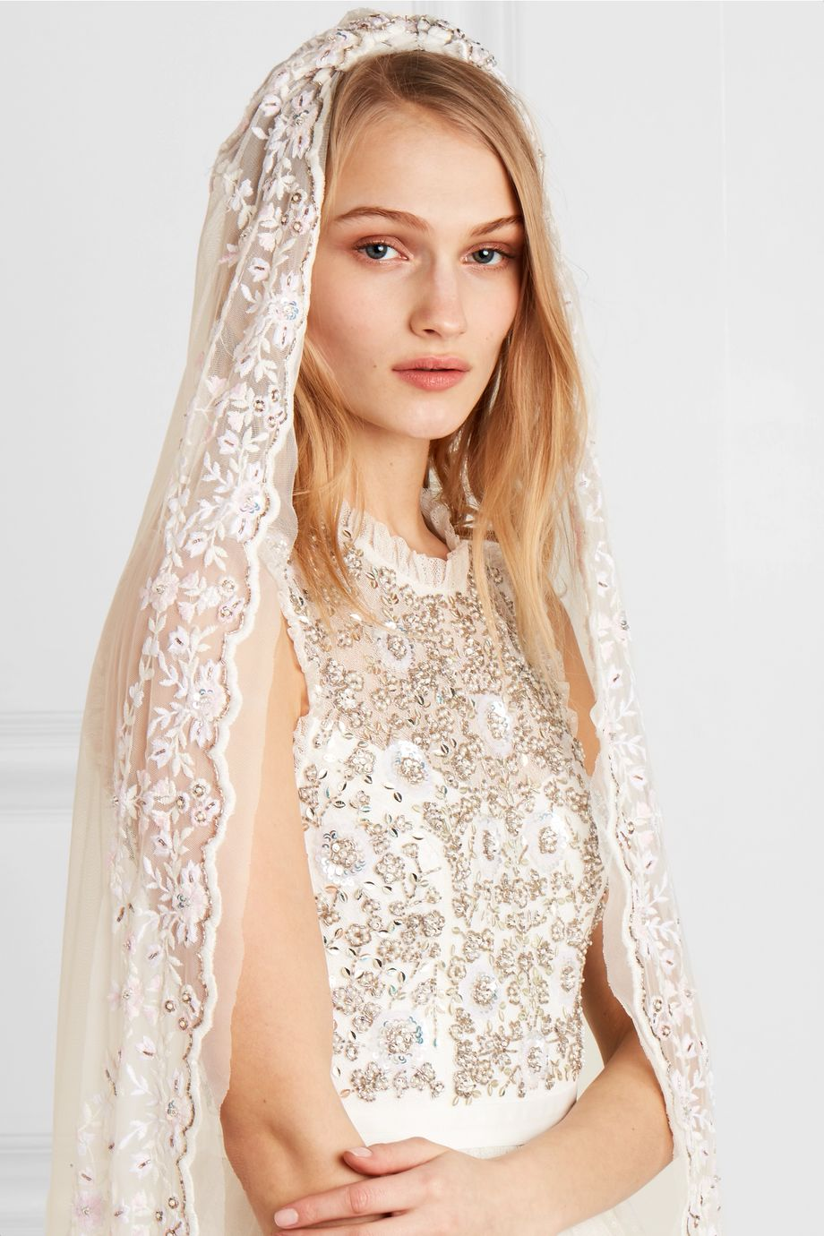 Needle & Thread Pearl Rose embellished embroidered tulle veil