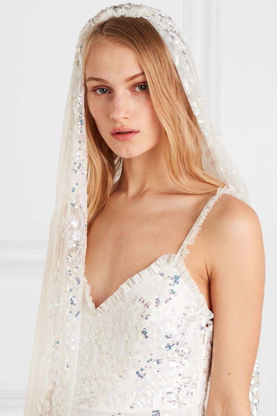 Needle & Thread Sequin-embellished tulle veil