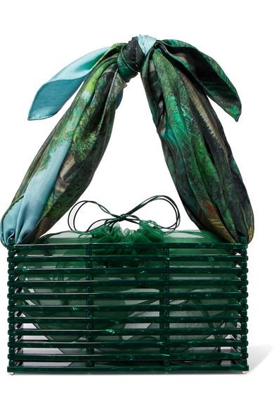 MONTUNAS Guaria Acetate And Silk-Satin Tote in Green