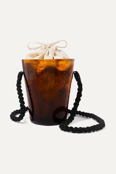 MONTUNAS Lirio Resin And Silk-Satin Bucket Bag in Brown