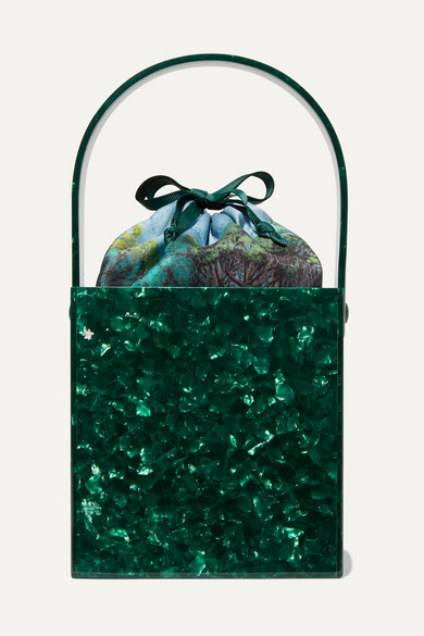 MONTUNAS Stelis Acetate And Silk-Satin Tote in Green