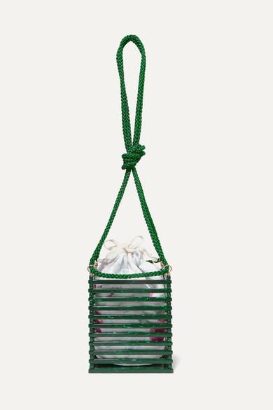 MONTUNAS Vanda Acetate And Silk-Satin Shoulder Bag in Green