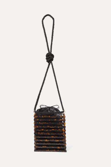 MONTUNAS Vanda Tortoiseshell Acetate Shoulder Bag in Brown