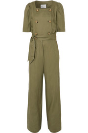 Diana belted double-breasted linen jumpsuit