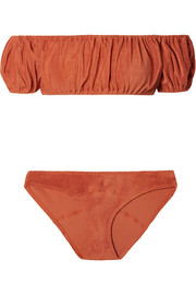 Leandra off-the-shoulder ruched cotton-blend terry bikini