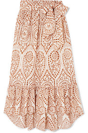 Nicole embroidered broderie anglaise cotton maxi skirt