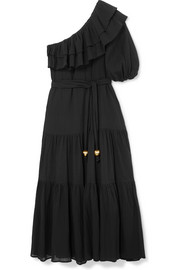 Arden one-shoulder ruffled cotton-crepon maxi dress