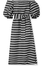 Rosie off-the-shoulder striped satin-twill maxi dress