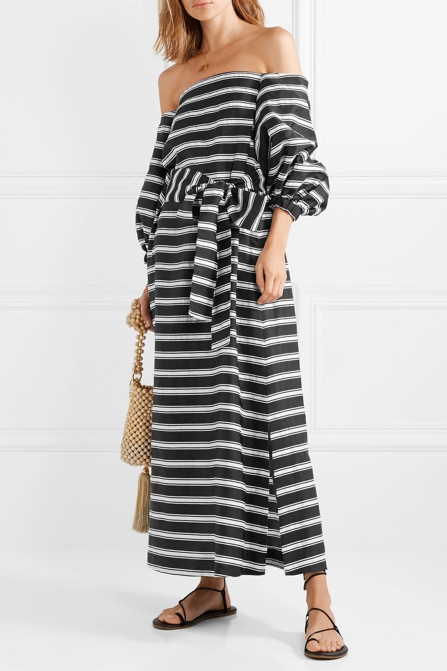 Lisa Marie Fernandez Rosie off-the-shoulder striped satin-twill maxi dress