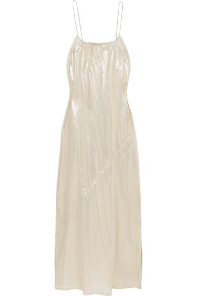 a49478eff8 Lisa Marie Fernandez Metallic Cotton-Blend Maxi Dress In White Gold Metallic