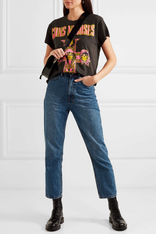 MadeWorn Guns n Roses neon distressed printed cotton-jersey T-shirt