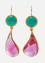 Gold-plated glass earrings