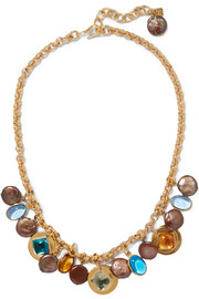 Gold-plated, glass and pearl necklace