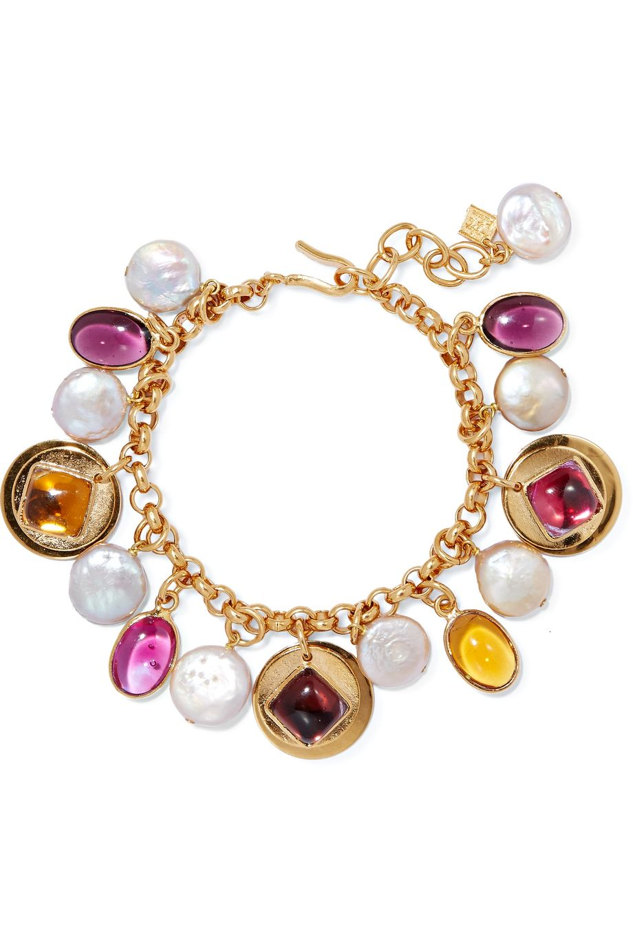 unknown Gold-plated, glass and pearl bracelet
