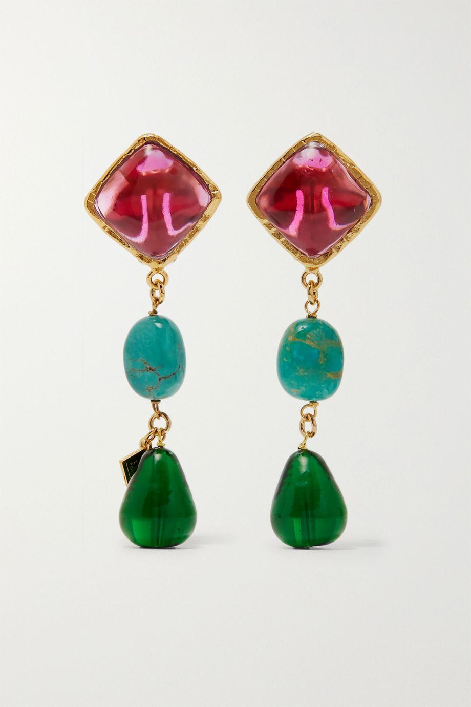 Loulou de la Falaise Vergoldete Ohrclips mit Details aus Glas und Türkis