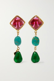 Loulou de la Falaise Gold-plated, glass and turquoise clip earrings