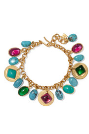 Loulou de la Falaise Gold-plated, turquoise and glass bracelet