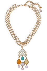 Gold-plated multi-stone necklace