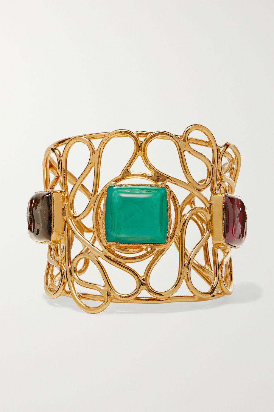 Loulou de la Falaise Mosaic vergoldete Armspange mit Glas
